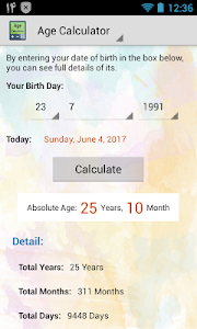 screenshot of Age Calculator By Date Of Birth (Days, Months) version 3.4
