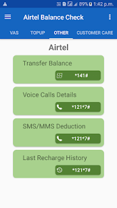 screenshot of Airtel Balance Check (India) version 1.9