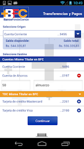 screenshot of BFC Móvil version 3.2.2