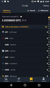 screenshot of Binance - Cryptocurrency Exchange version 1.5.3.1
