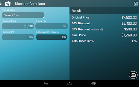 screenshot of Discount Calculator version 1.1.1