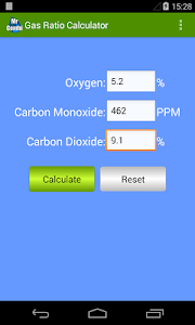 screenshot of Gas Ratio Calculator version 2.2