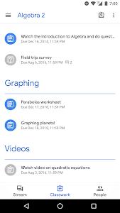 screenshot of Google Classroom version 4.12.552.04.30