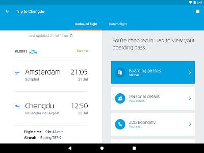 screenshot of KLM - Royal Dutch Airlines version 9.10.0