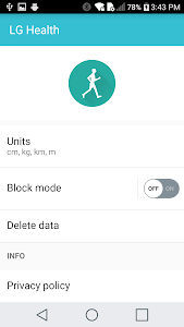screenshot of LG Health Agent version 1.4.05
