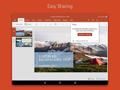 screenshot of Microsoft PowerPoint version Varies with device