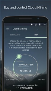 screenshot of MinerGate Mobile version 2.5.0