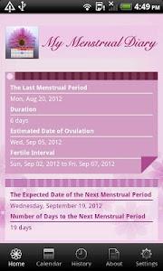 screenshot of My Menstrual Diary version 3.3
