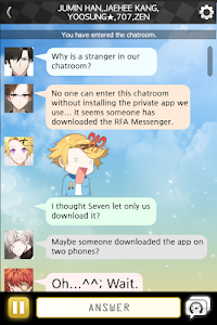 screenshot of Mystic Messenger version 1.7.1