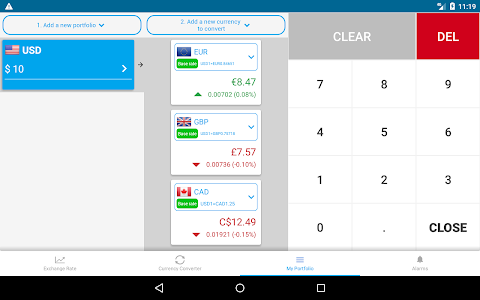 screenshot of exchange rate & currency converter - Owl Currency version 1.03890