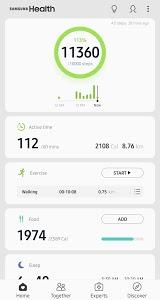 screenshot of Samsung Health version 6.1.0.047