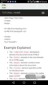 screenshot of W3Schools Offline FullTutorial version 3.8
