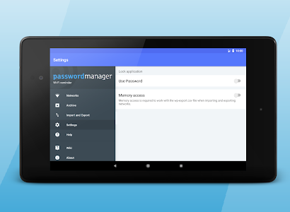 screenshot of Wi-Fi password manager version 2.7.3