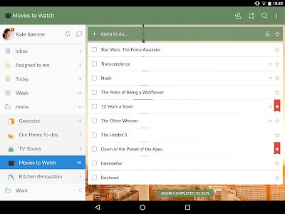 screenshot of Wunderlist: To-Do List & Tasks version 3.4.9