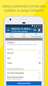 screenshot of sahibinden.com: Emlak,Araba,Alışveriş ve Diğerleri version Varies with device